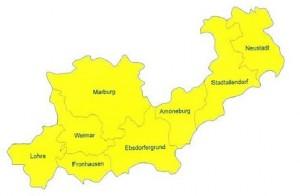 Gebietszuschnitt der Region Marburger Land